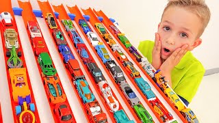 Niki play with Hot Wheels cars and playsets - Collection video with Toy cars