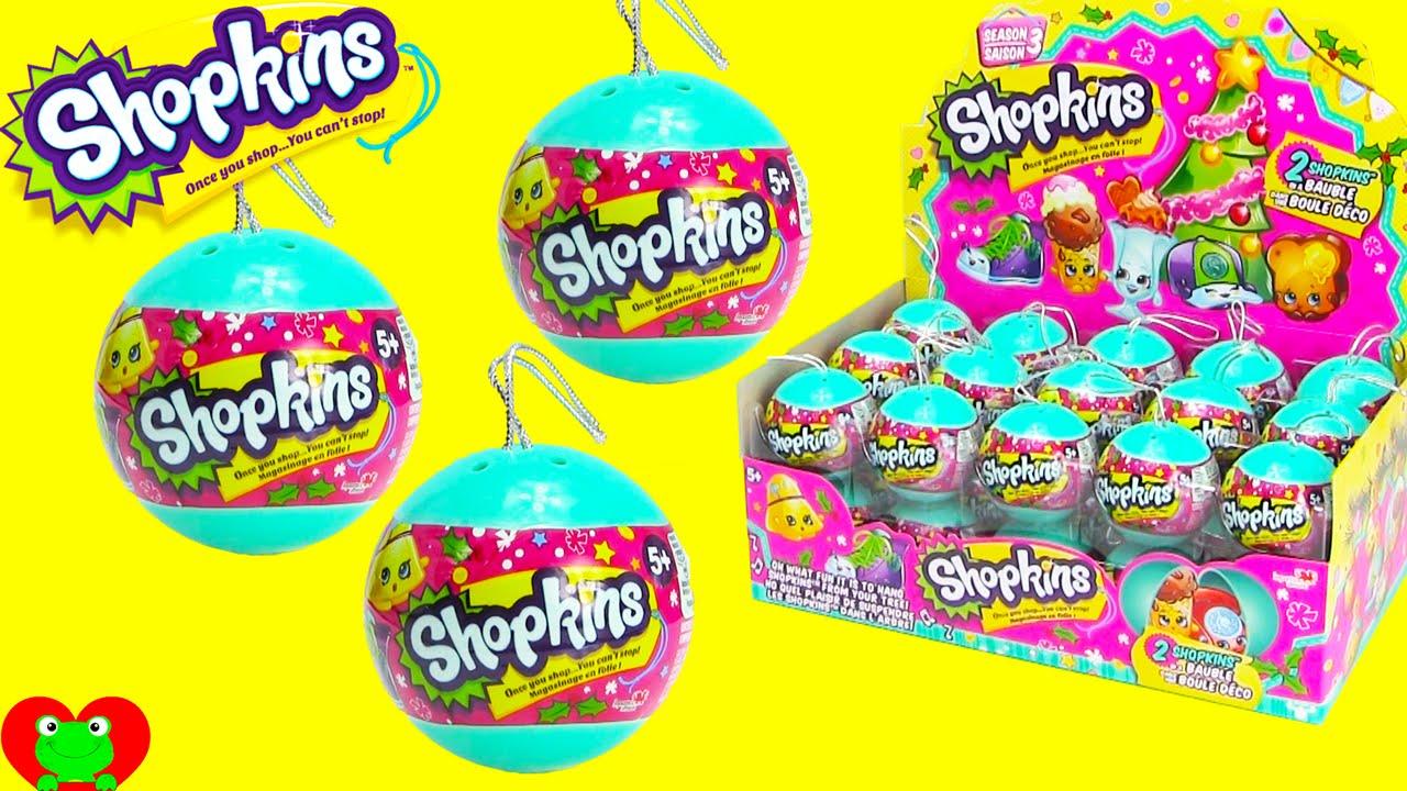 Shopkins Christmas Ornaments Season 3 Bauble Surprises - YouTube