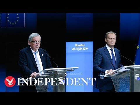 EU: Donald Tusk and Jean Claude Juncker give a press conference from Brussels