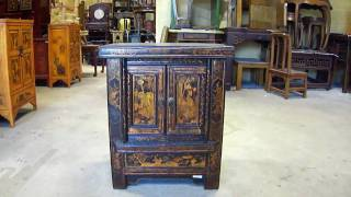 Black Chinese Gold Hand Paint End Table Cabinet Wk1098