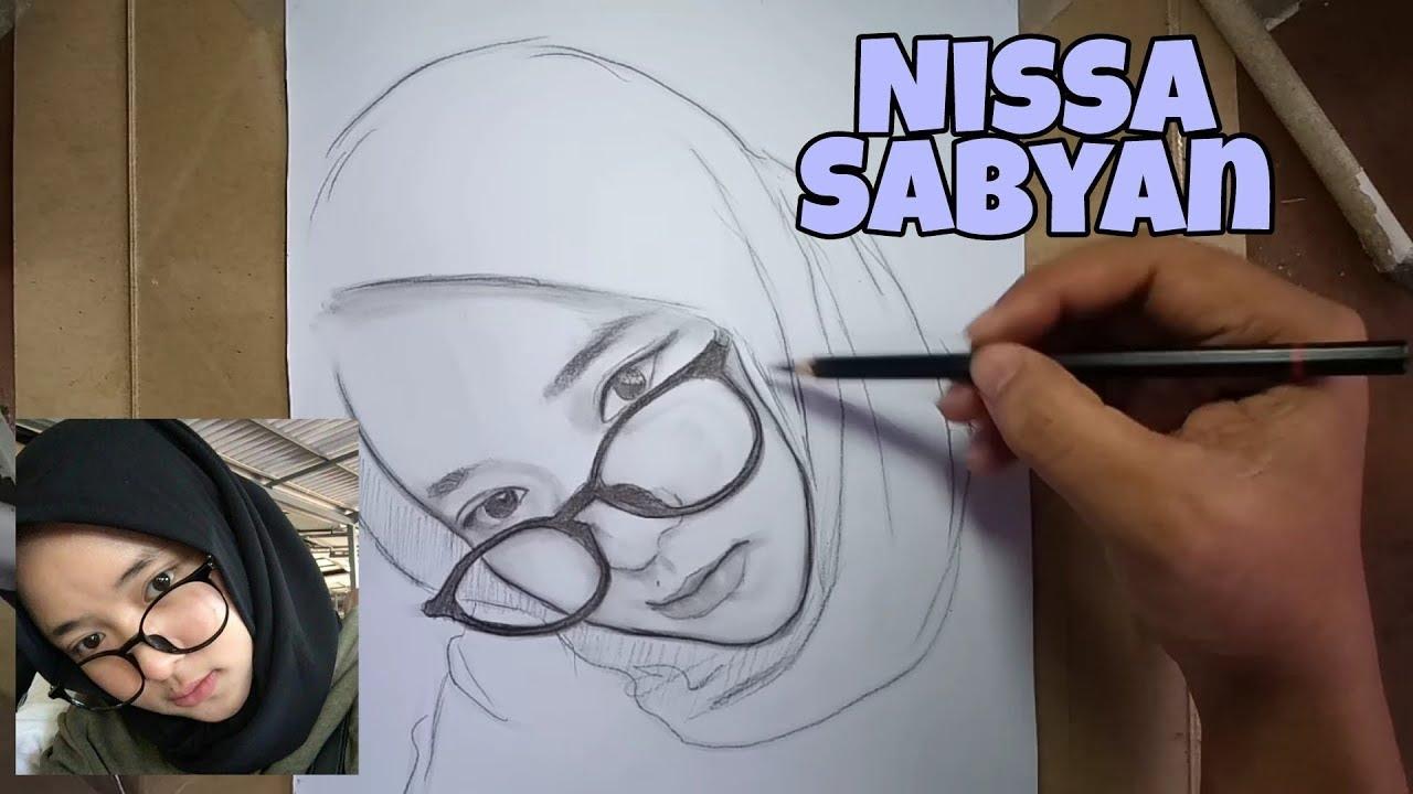 Menggambar wajah nissa sabyan tanpa penghapus part 2 irwan art drawing