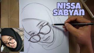 Menggambar wajah NISSA SABYAN tanpa penghapus ( part 2 )