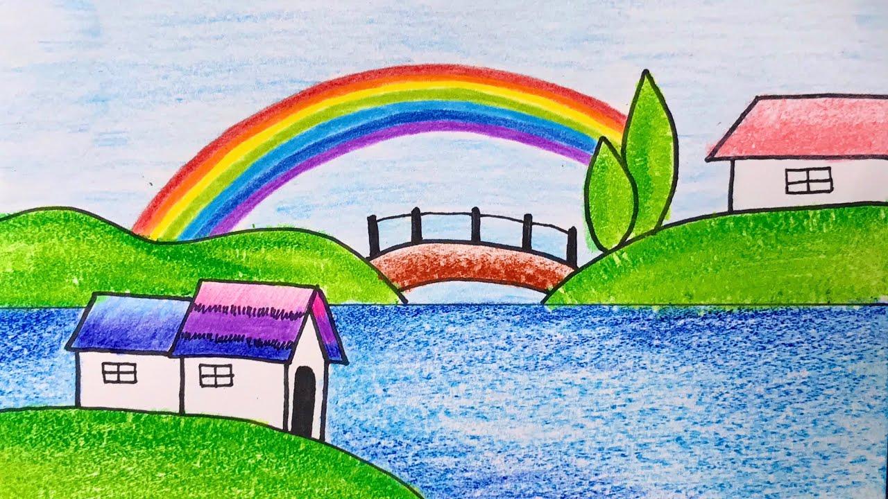 Vẽ Tranh Phong Cảnh Đơn Giản Với Màu sáp | How to draw simple scenery with crayon