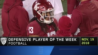 Washington State's Jahad Woods garners Pac-12 Football Defensive Player of the Week honors