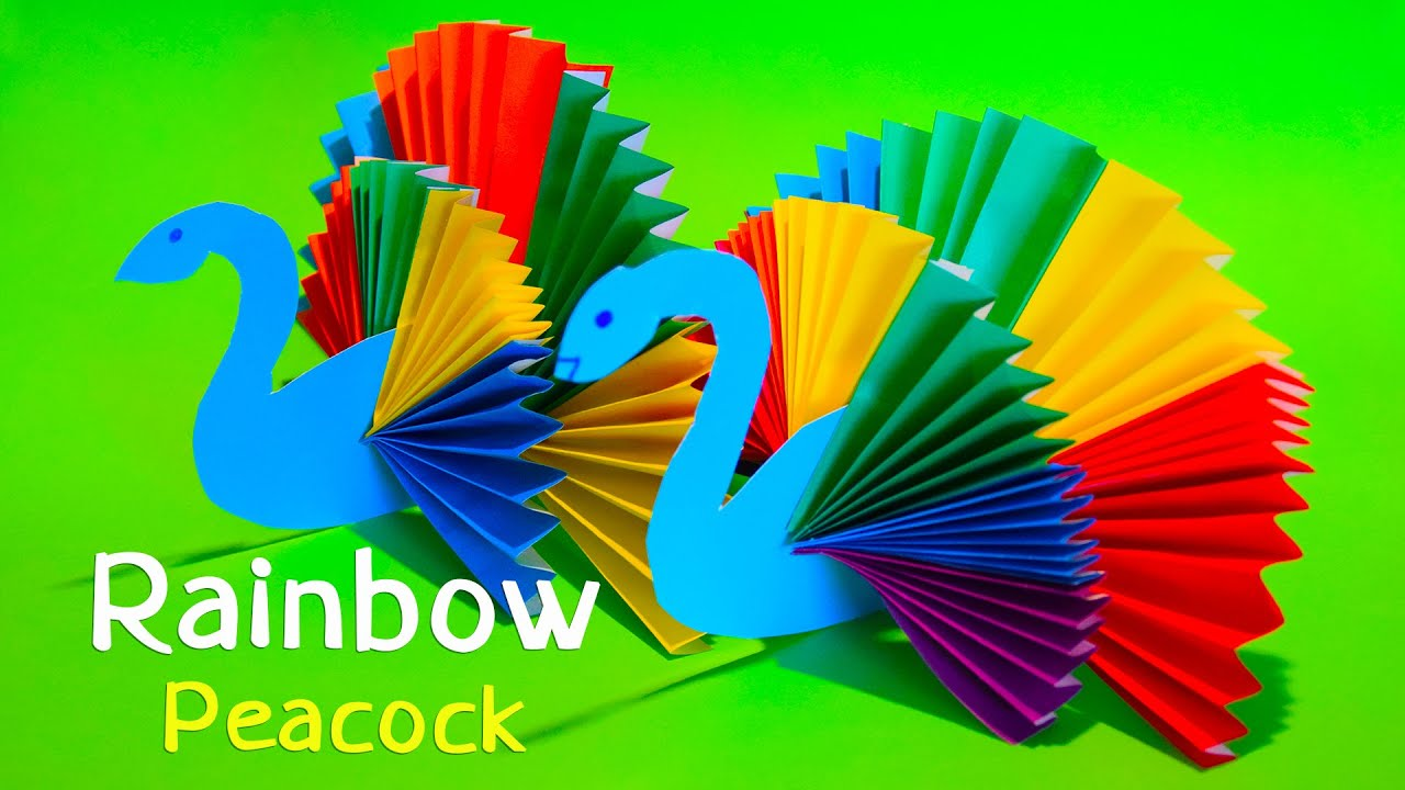 How To Make Rainbow Peacock Bird ♡ Paper Craft Youtube
