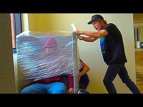 Plastic Wrapping People Prank Part 2