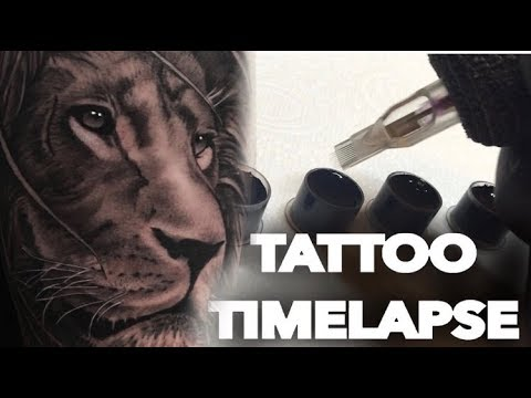 REALISTIC LION TATTOO TIME LAPSE 2018
