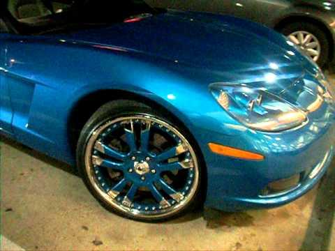 Cobalt Blue Chevy Corvette vert on staggered Asantis