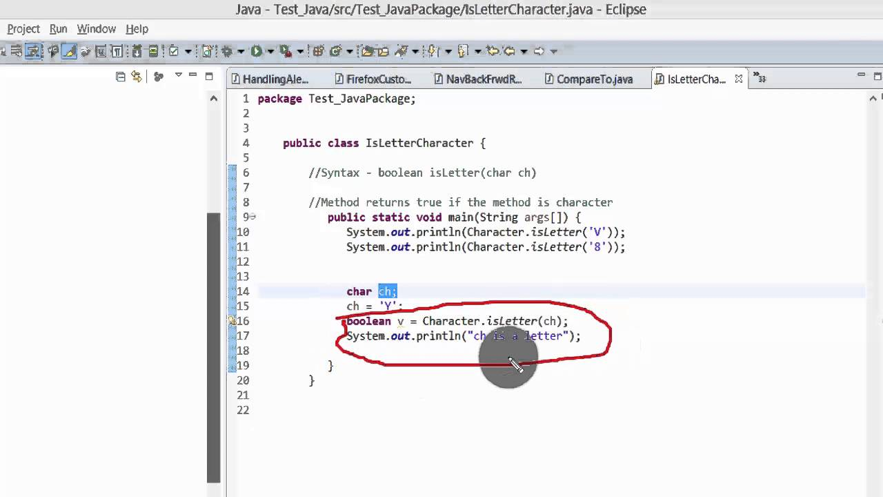 Java Tutorial   isLetter() method to find if the character is a