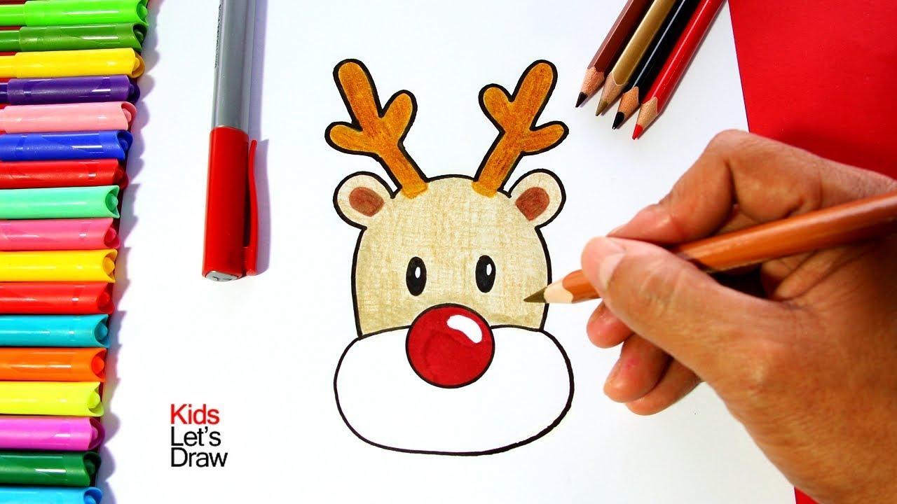 Como Dibujar Al Reno De Navidad Paso A Paso Facil How To Draw