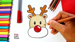 Cómo dibujar al RENO de Navidad (paso a paso) fácil | How to Draw Rudolph the Red Nosed Reindeer