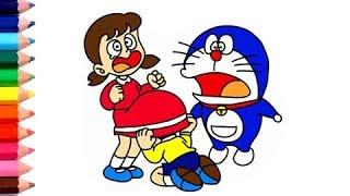 Nobita Shizuka Gizler Etek l Draw ve Çocuklar için Doraemon Karikatür l Video Renkler Boyama