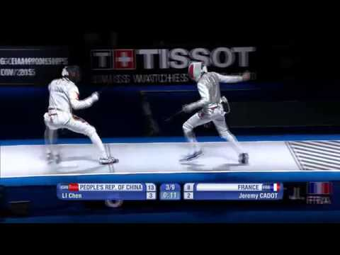 China vs France 2015 Moscow world Championship men's foil team third place