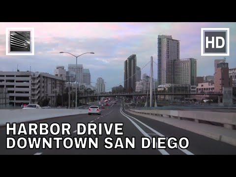 Driving Downtown - San Diego's Harbor Drive - California, USA