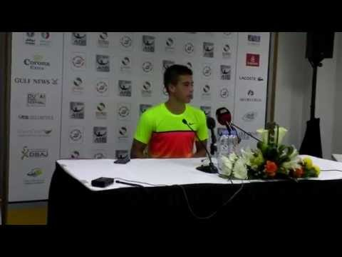 Borna Coric talking after his quarter final win against Andy Murray in Dubai 2015