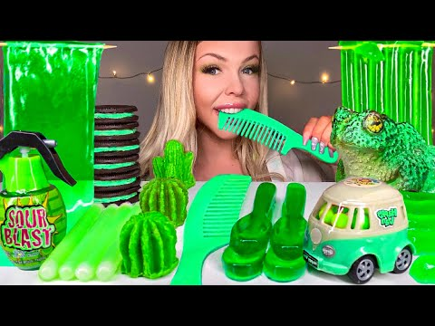 ASMR *GREEN FOOD* EDIBLE HAIR COMB, NIK-L-NIP WAX STICK, CACTUS, CHOCOLATE FROG, JELLY MUKBANG 먹방