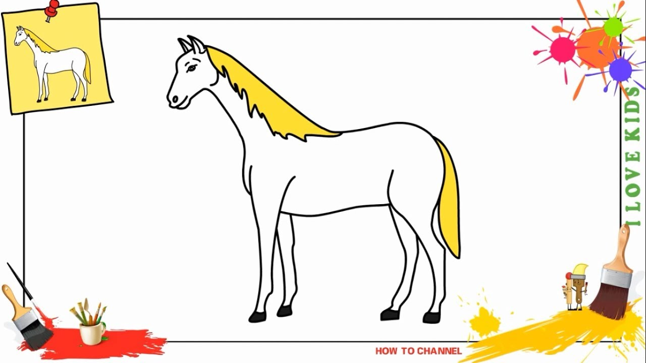 How to draw a horse EASY & SLOWLY step by step for kids ...