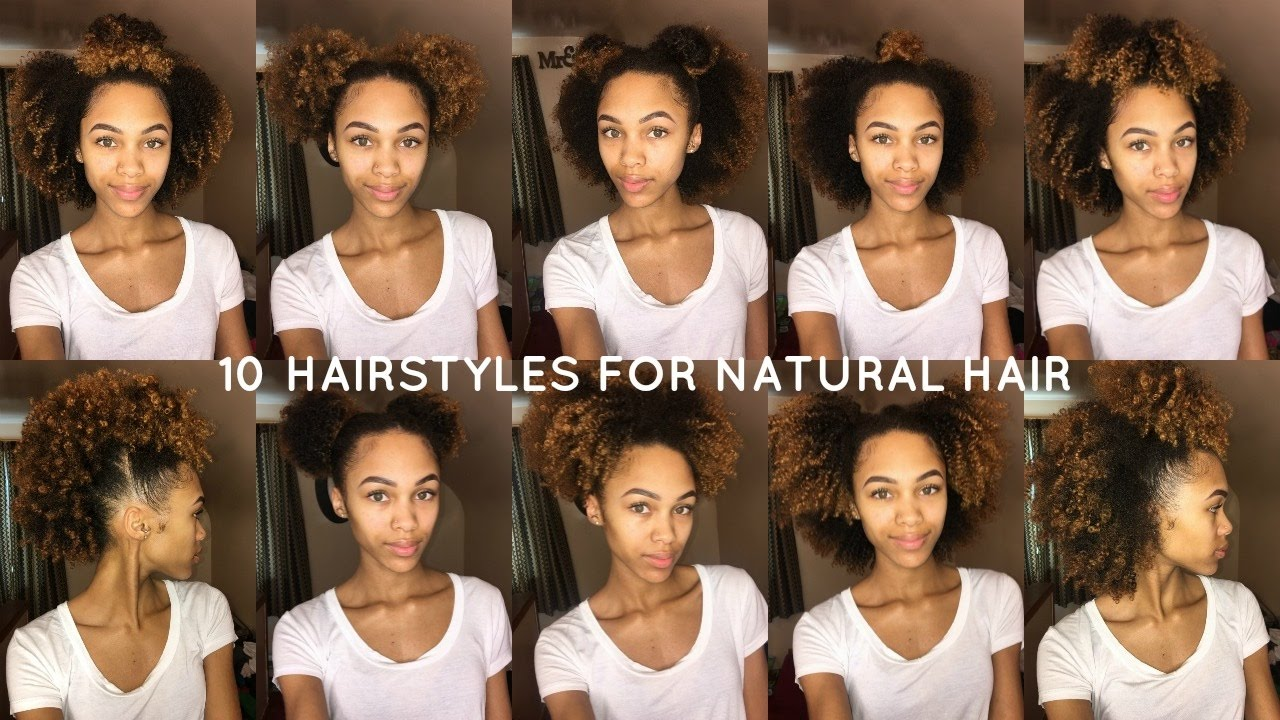10 Super Cute Easy Styles For Natural Hair Youtube
