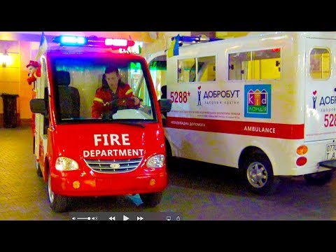 Indoor Playground with kids police car, fire truck. Family Fun play area. Nursery Rhymes Baby Songs