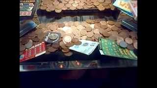 PENNY PUSHER 2p MACHINE CASH AND SCRATCH CARDS  !!!!! wth !!!! do i win part 1