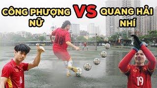 Thử thách bóng đá Quang Hải Nhí  VS Công Phượng phiên bản Nữ U23 Việt Nam tương lai