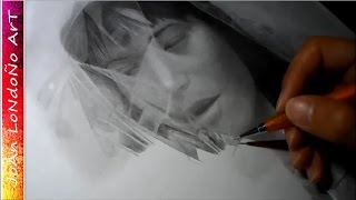 Girl and plastic texture - graphite drawing