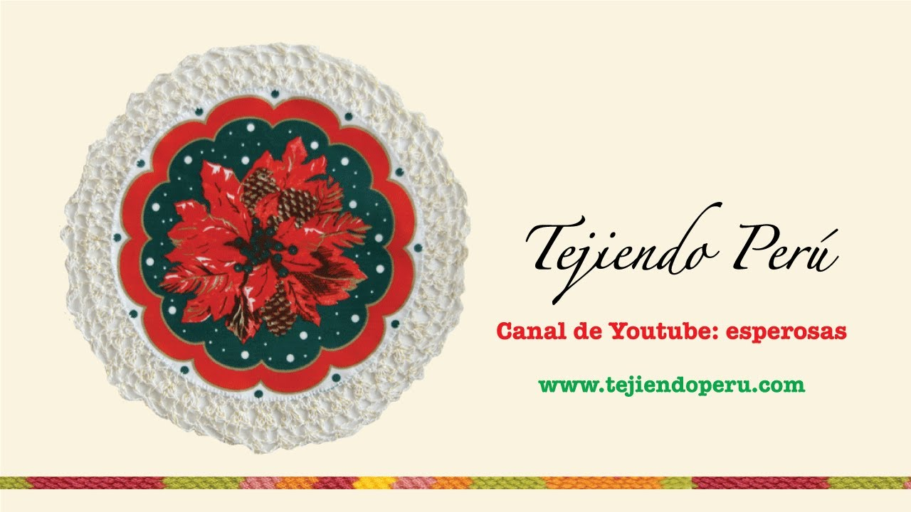 Individual navideño con borde a crochet # 2 - YouTube
