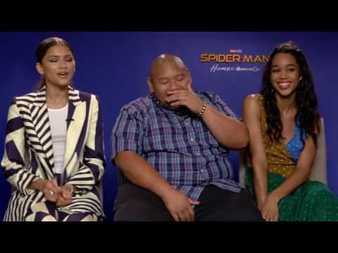 Zendaya, Jacob Batalon, Laura Harrier Full interview Spider-Man Homecoming