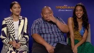Zendaya, Jacob Batalon, Laura Harrier Full interview Spider-Man Homecoming