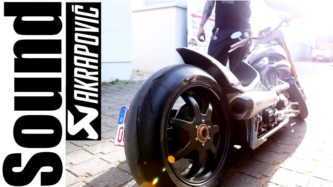 "⭐️ Exhaust System Akrapovic Sound - Dragstyle Custom Bike ""Benchmark"" by Walz Hardcore Cycles"