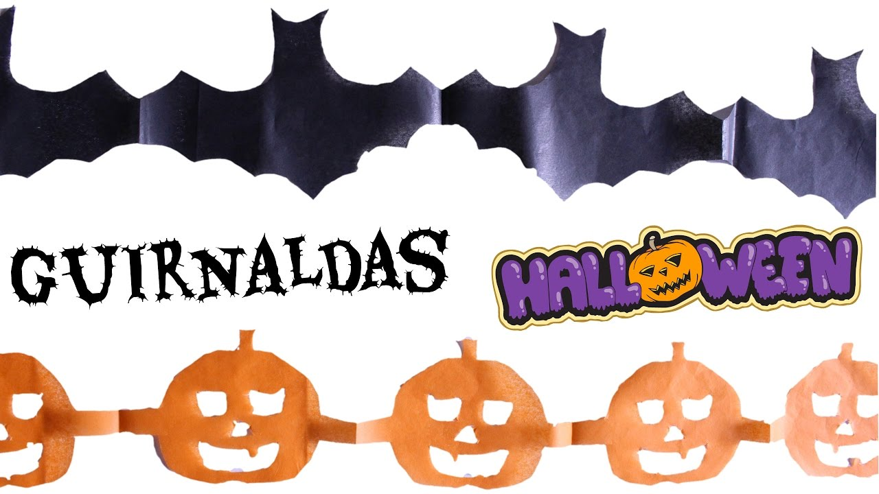 Guirnaldas para halloween de murcielagos y calabazas diy youtube - Murcielagos para halloween ...