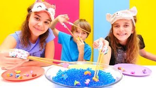 Çocuk challenge videosu. Orbeez ile oynadık, Shopkins yakaladık