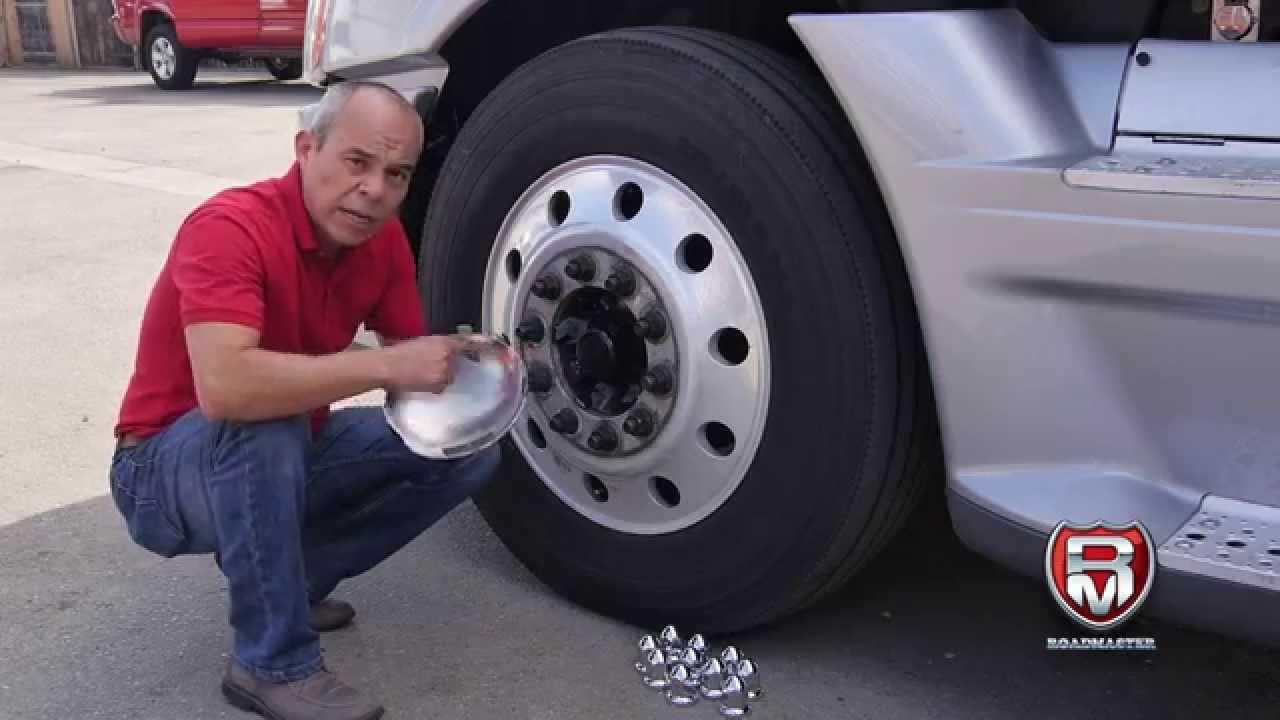 Semi Truck Hub Caps : How to install a front hub cap aluminum wheels youtube