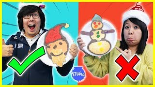 Christmas Pancake Art Challenge! Learn to Make DIY Pancake Art!!!
