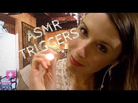 ASMR: 5 Binaural Triggers! Face Touching, Pen Light, Massage, Tongue Clicking, Reiki