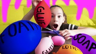 making slime with balloons slime balloon tutorial haschak sisters