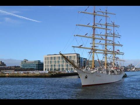 Polish Tall Ship 'Dar Młodzieży' leaving Dublin port for Antwerp