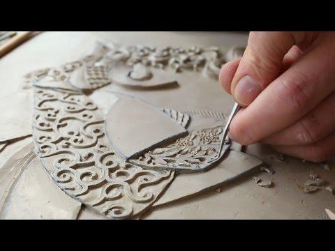 Victoria Ellis Carves Fine Bas Relief Figurative Clay Mural