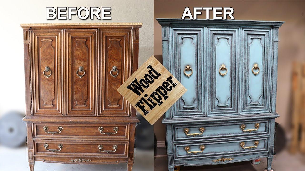 Aqua Gold Dresser Project - Furniture Chalk Painting - YouTube