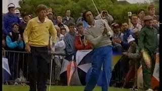 Seve Ballesteros and Nick Price. 3rd day.Last 3 holes. The Open. 1988.