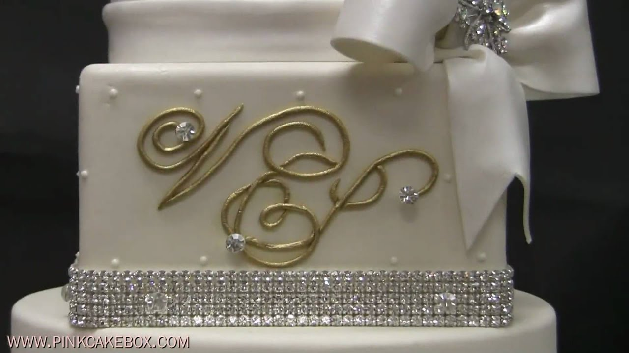 Bows and Bling Wedding Cake   YouTube