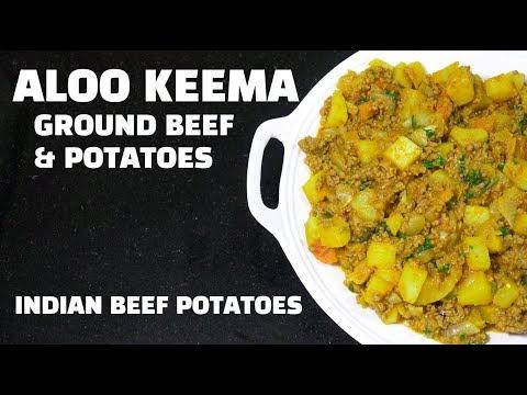Aloo Keema - Keema Aloo - Indian Ground Beef & Potatoes - How to make Keema Masala