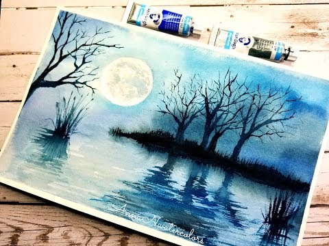 Easy Monochrome Landscape Watercolor Painting – watercolor for Beginners