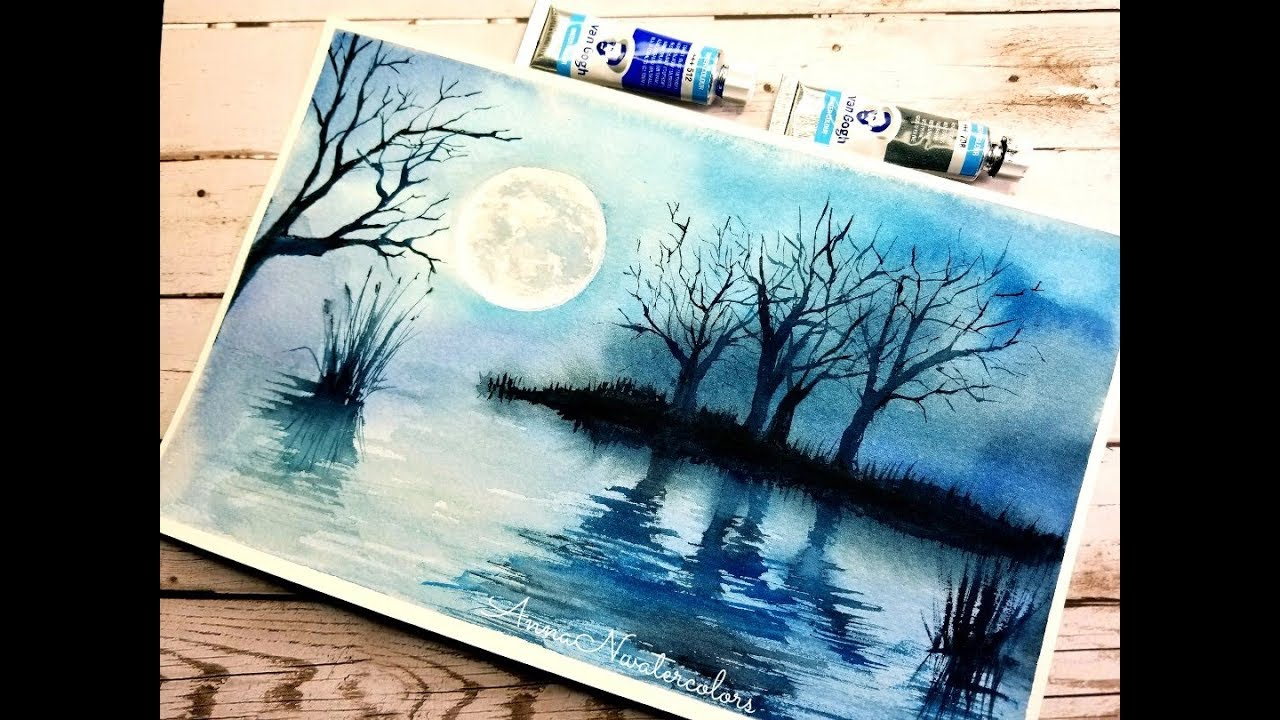 Easy Monochrome Landscape Watercolor Painting Watercolor