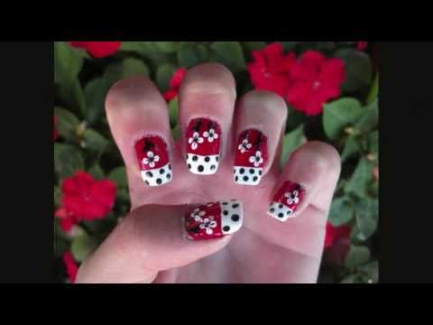 Red White And Black Flowers Nail Design Youtube