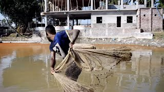 Best Net Fishing - Big Fish Hunting By Cast Net - Net Fishing in the Village River (Part -22)