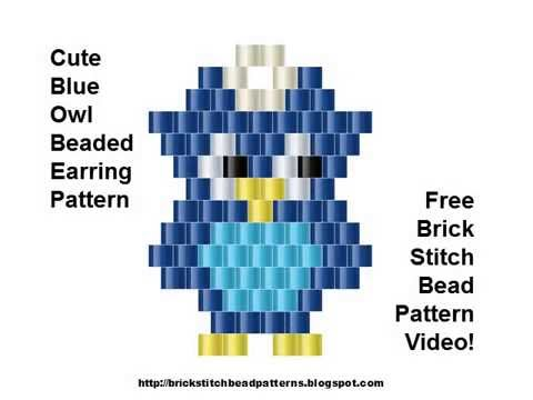 photo about Pony Bead Patterns Free Printable identify Lovable Blue Owl Earrings Brick Sch Bead Routine