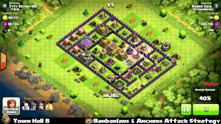 Clash of clans - Town Hall 8 Barbarians & Archers Strategy - 571k Loots