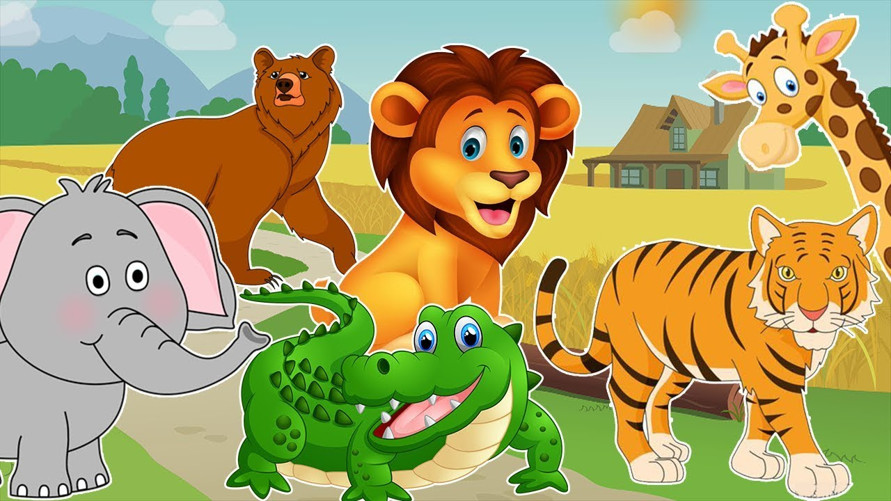 Learning Wild Animals Names Sounds With Cartoon Zoo Animals For Kids In English Youtube