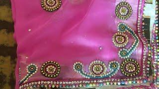 New beautiful latest Saree border design!! Latest  zip and kundan work design!! Dupatta work at home